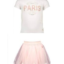 Le Chic – White 'Paris With Love' T-Shirt And Pink Petticoat Skirt Set