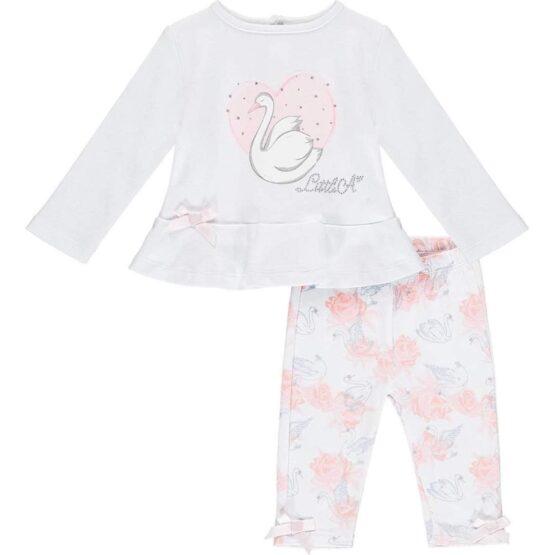 Little A IMOGEN swan legging set (bright white)